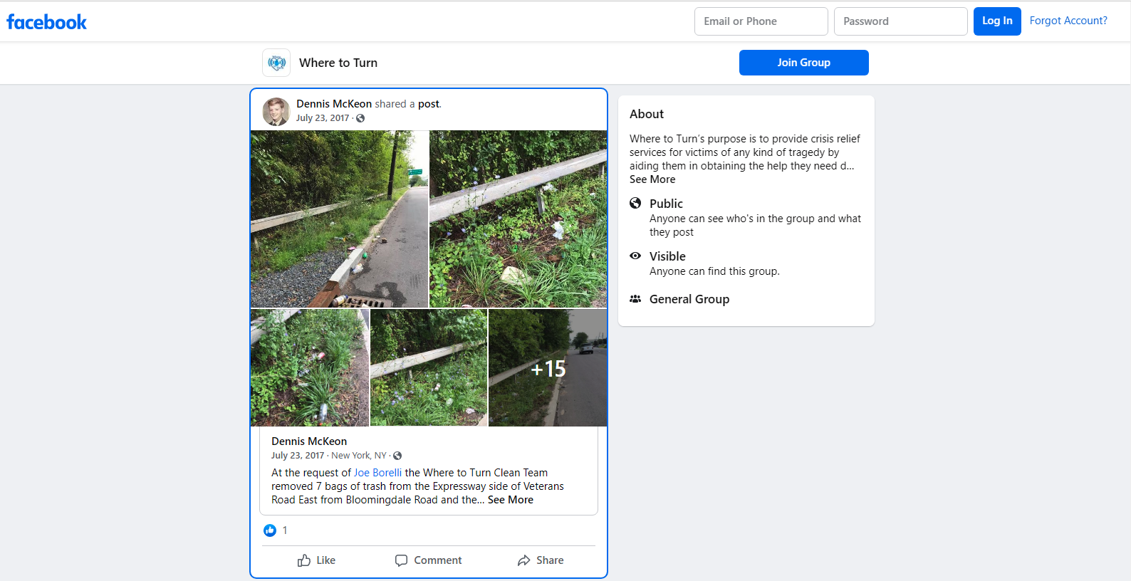 Where to turn facebook group page screenshot